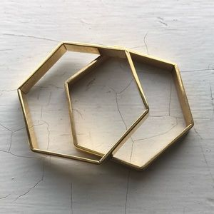 Pair of J.Crew hexagon bangle bracelet